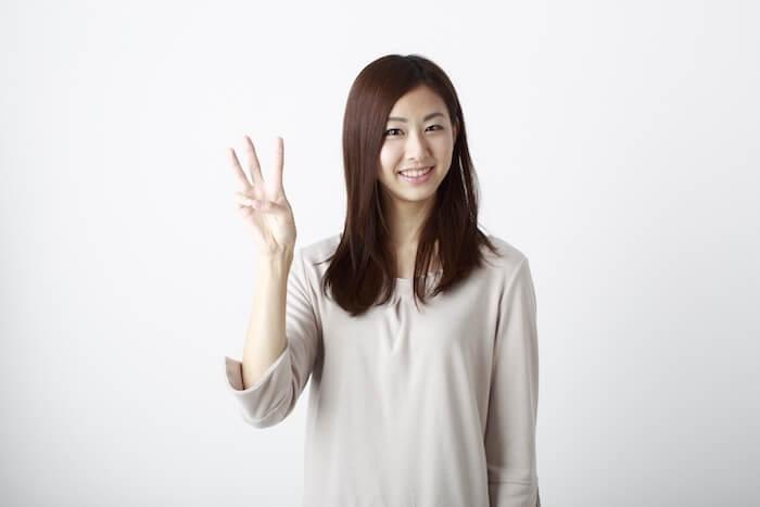 三本指を立てている女性の画像
