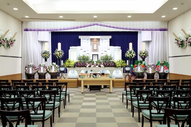 葬儀場の祭壇の画像