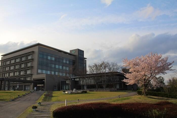 役場と桜の画像