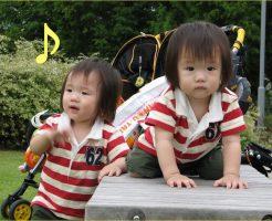 公園で遊んでいる双子の男の子の画像